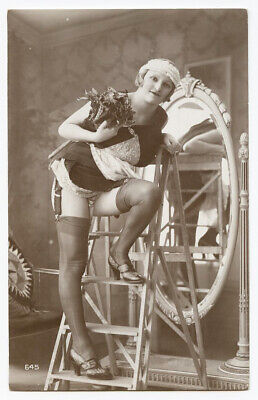 1920s Risque Nude French Photo Postcard LEGGY Beauty Chamber Maid