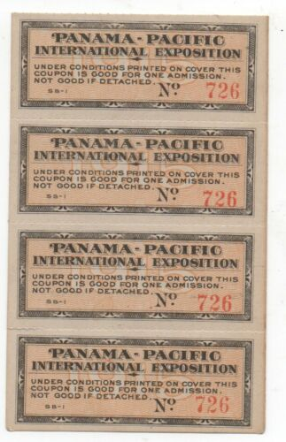 Four Unused Admission Tickets to the 1915 PPIE World