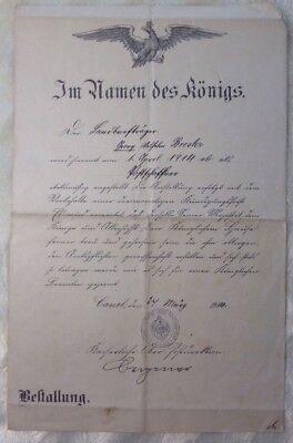 Bestallungsurkunde als Postschaffner Cassel 1914 Kaiserliche Ober-Postdirektion