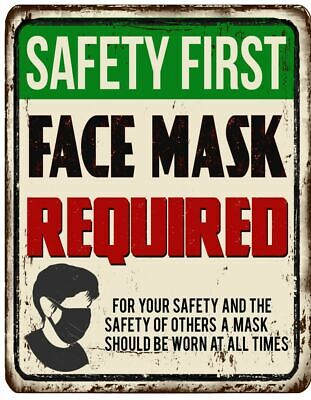 Warning Face Mask Safety First Window Sticker 7 X 5 Uv Laminated Window Decal