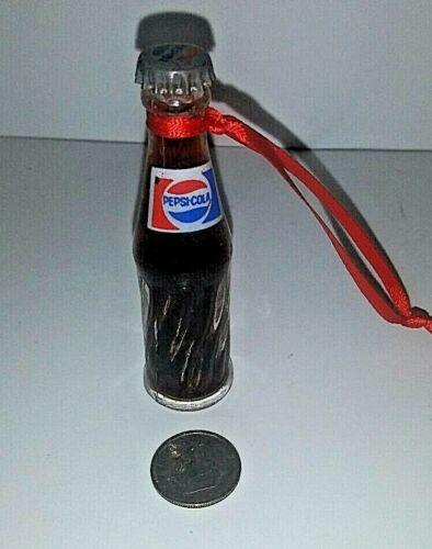 "Pepsi Cola Mini Glass Bottle Full Fluid Ornament Metal Cap Christmas Vintage 3"""