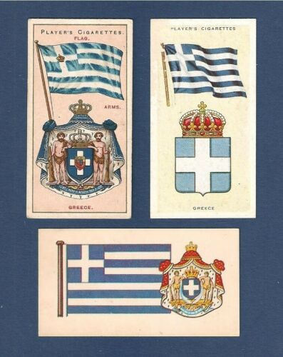 Flags of GREECE National Flag  I Galanolefki 1905 1938 1967 vintage cards