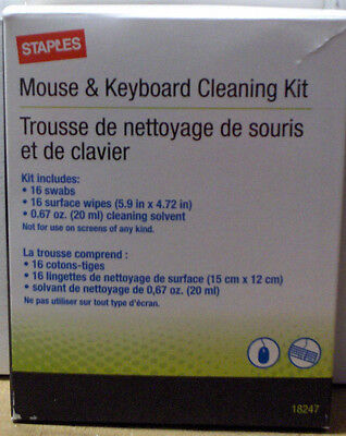 Mouse & Keyboard Cleaning Kit  16 wipes 16 Swabs & Solvent