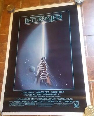 C9.5 RETURN OF THE JEDI ORIGINAL STAR WARS 1983 27x41 MOVIE POSTER BLUE HARVEST!