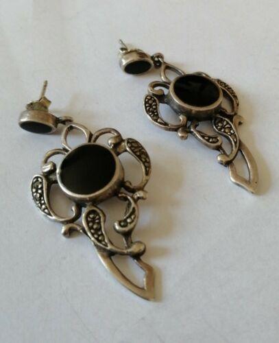 Art Deco 925er Silber Ohrringe Onyx
