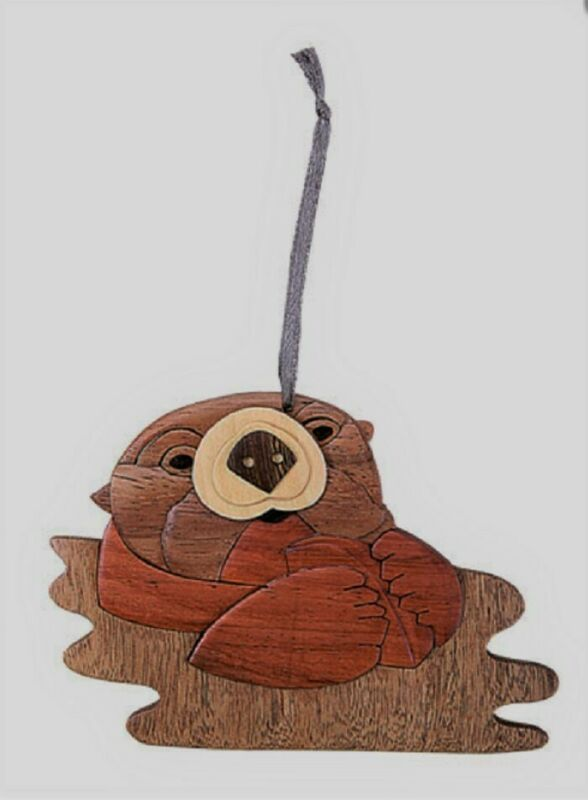 Otter Wooden Intarsia Handmade Handcrafted Hanging Ornament