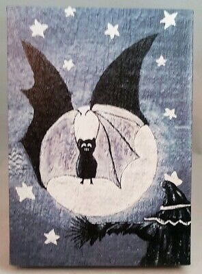Halloween Moon Bat Spooky Table Wall Decor Picture Light Up 8.5x6