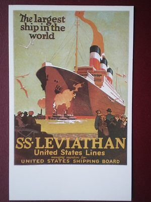 POSTCARD SS LEVIATHAN - LARGEST SHIP IN THE WORLD