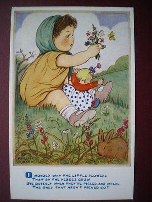 POSTCARD CHILDREN PHYLLISM PURSER O WONDER WHY THE LITTLE FLOWERS