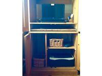 PINE DESK CABINET. Computer Cabinet.