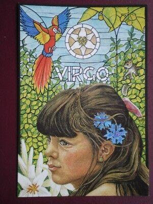 POSTCARD SOCIAL HISTORY VIRGO ZODIAC SIGN 12 OF 12