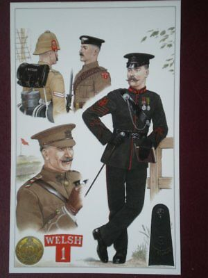 POSTCARD THE WELCH REGIMENT - OFFICERS DRESS FROM 1899 TO 1914