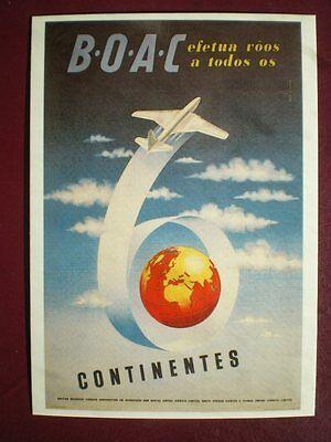 POSTCARD 1949 BOAC POSTER - B.O.A.C EFETUA ROOS A TODOS OS 6 CONTINESA