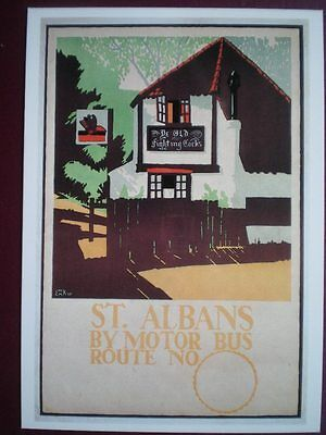 POSTCARD LONDON TRANSPORT POSTER - 1920 ST ALBANS BY MOTOR BUS ROUTE NO 0