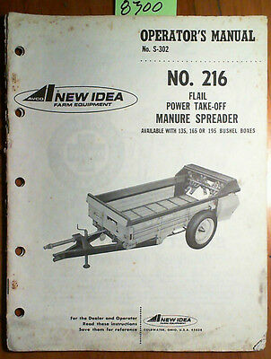 New Idea 216 Flail Pto Manure Spreader Owner Operator Parts Manual S-302 567