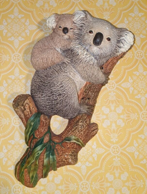 Bossons England Koala Bears Hand Painted Chalkware