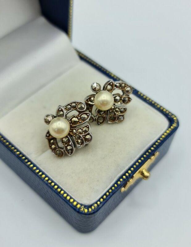 Vintage faux pearl & Marcasite silver tone floral screw back Earrings