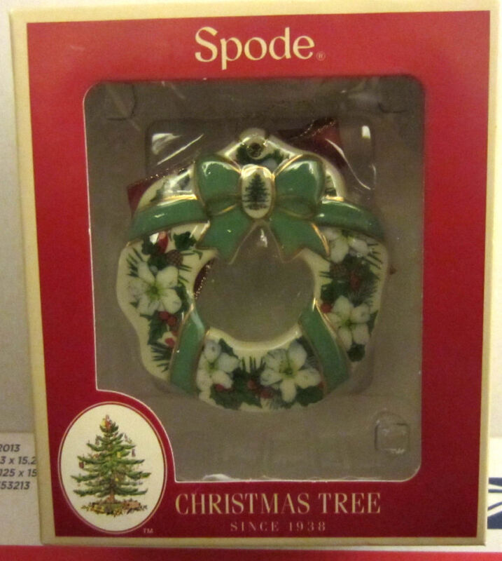 Spode Christmas Tree WREATH FLOWERS & RIBBONS Ornament New Holiday