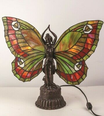Victorian Trading Co Butterfly Stained Glass Table Lamp - Butterfly Stained Glass Table Lamp
