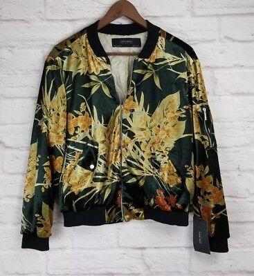 Zara Printed Velvet Bomber Jacket M Medium Nwt