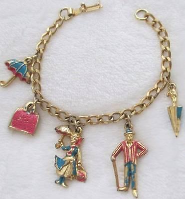 "1960's Disney Productions Mary Poppins Charm Bracelet Disneyland Authentic 7"""