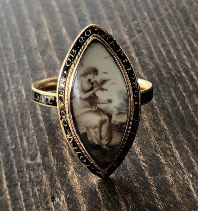 1783 Georgian Navette Mourning Ring