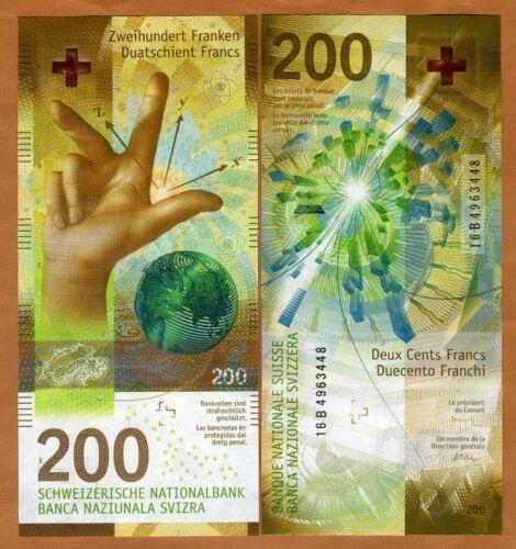 Switzerland, 200 Francs, 2016 (2018), P-New,  Hybrid Polymer, UNC