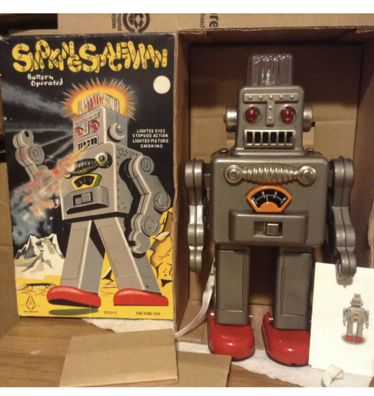 """TIN TOM TOY Smoking Spaceman 12"""" Robot Battery Operated -936/1999. Preowned 🤖🤟"""