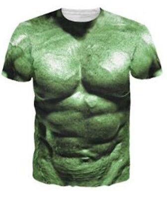 Fashion The Hulk Comics Muscle Print 3D T-Shirt Men Women Casual Short Sleeve (Hulk Muscle T Shirt)