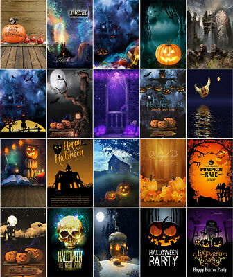 Halloween Party Backgrounds Horror Castle Pumpkin Lantern Photography Backdrops](Horror Halloween Background)