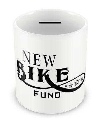 New Bike Fund - Money Box Piggy Bank Cycling Motorbike savings penny jar #74 Motorcycle Money Banks