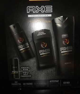 Dark Temptation Axe 4 Piece Gift Set for Men Fragrance Body Wash Antiperspirant