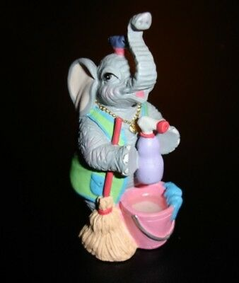 Luckyphants. Elephant Cleaning Lady with Broom & Bucket  #2006 - Cute!