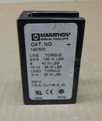 1 New Marathon 1421570 Power Distribution Block 175a 175 Amp 1p 600v 2 Avail
