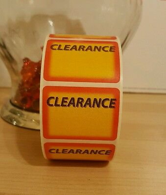 500 Self-Adhesive Clearance Tags Labels Stickers Retail Store Supplies Square