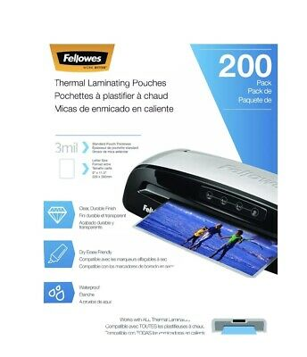 Fellowes Thermal Laminating Pouches Letter Size 9 X 11.5-inches 3 Mil 200