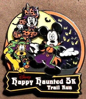 DISNEY 2013 VHTF HAPPY HAUNTED 5K TRAIL RUN MARATHON HALLOWEEN GLOW IN DARK PIN - Happy Halloween Run