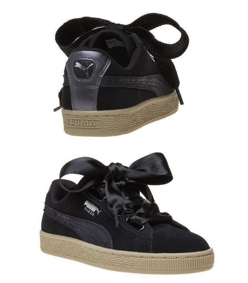 Details about Puma Suede Heart Safari Womens Trainers Lace Up Black Leather 364083 03 X60B