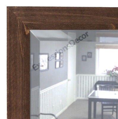 Custom Barnboard Brown Wood Beveled Wall Mirror - FREE SHIPPING, Bathroom Mantle