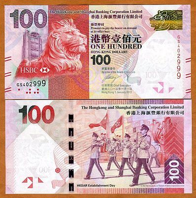 Hong Kong   100  2013  Hsbc  P 213 New  Unc   Lion