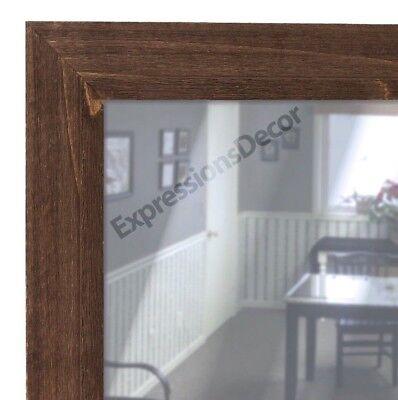 Custom Barnboard Brown Wood Flat Wall Mirror - FREE SHIPPING, Bathroom Mantle