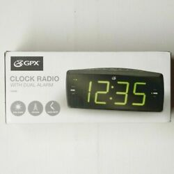 GPX AM/FM Clock Radio C353B Dual Alarm Green LED Display Battery Backup Black