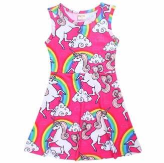 Pink Rainbow Unicorn Summer Dresses