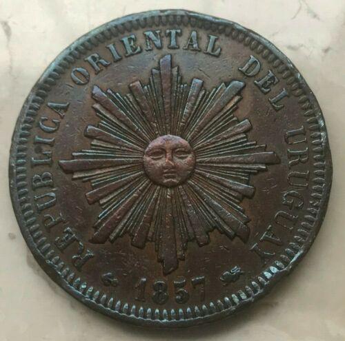 1857 Uruguay 40 Centesimos - Large Toned Copper