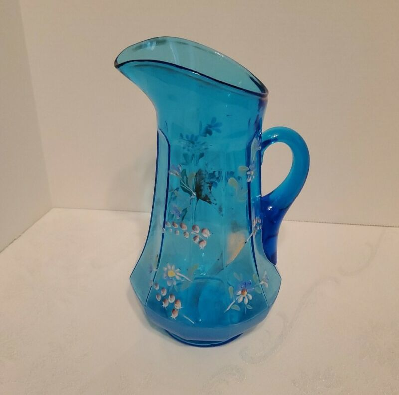 Antique Victorian Enameled flowers Pitcher Water Lemonade blue hand blown glass