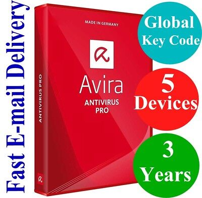Avira Antivirus Pro 5 Devices   3 Years  Unique Global Key Code  2018