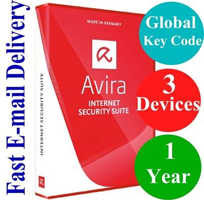 Avira Internet Security Suite 3 Devices   1 Year  Unique Global Key Code  2018