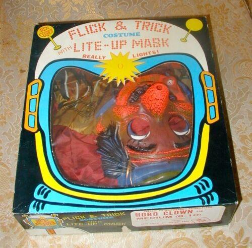 Hobo Clown Flick and Trick Halloween Costume and Mask Ben Cooper Vintage
