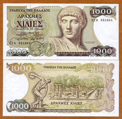 Greece, 1000 Drachmai, 1987, P-202, Last pre-Euro, Unc > Apollo