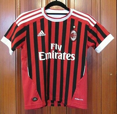 2011 AC Milan Youth Adidas Soccer Jersey Boys Size Small S UK 9-10Y Red Black